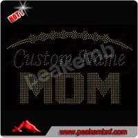 Iron on Bling Bling Custom Nama Mom Rhinestone Soccer Ball Heat Transfer