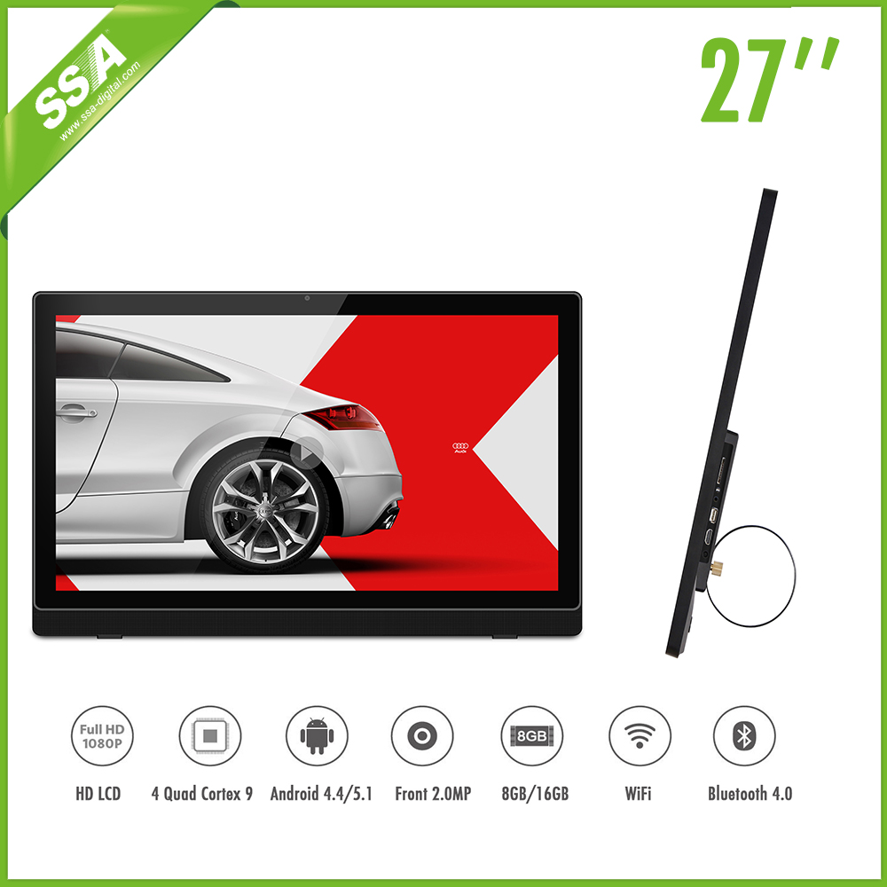 27 inch wifi smart capacitive 10 point android touch screen digital signage