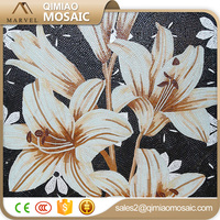 Black Glass Free Mosaic Flower Patterns Outside Wall Decorative Tile