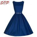 Plus size new design women hepburn dresses lady cloth latest design plus size blue dress