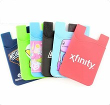 silicone smart wallet 3m adhesive silicone card holder for cell phone