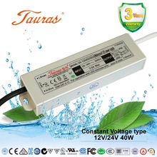 12V/24V 40W CE ROHS constant voltage waterproof ac dc led switching power supply driver for led strip lighting module