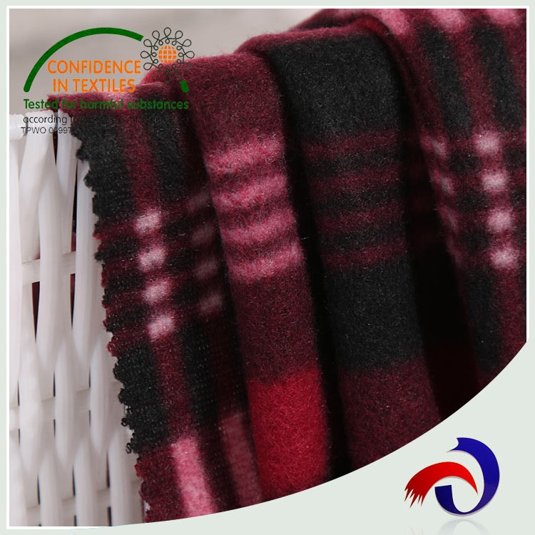 high quality plaid recycled fleece printed one side brush fabric