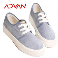 Canvas Casual Suede Woman Flat Shoes Fashion Ladies Shoes With Light Blue Color