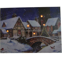 battery operated Christmas village and bridge landscape led pictures with fiber optical lights