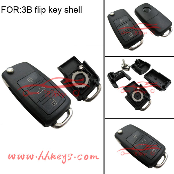 Hot selling 3buttons flip remote key case VW passat polo golf jetta Remote Duplicator Shell