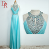 Beautiful flare hem crystal belted halter neck best quality fashion maxi slim evening dress women