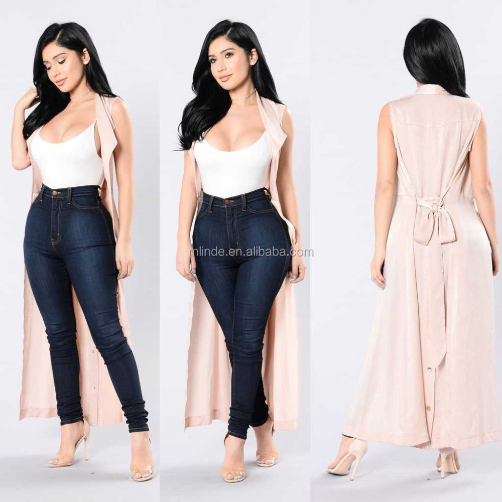 Vest Duster 100% Polyester Satin Waist Belt Long Maxi Open Sleeveless Top Jacket Collar Plain Cardigan Open Duster Blazer Vest
