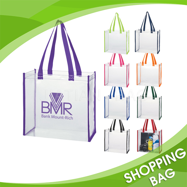 Beach Travel Shopping Waterproof transparent tote clear pvc bag