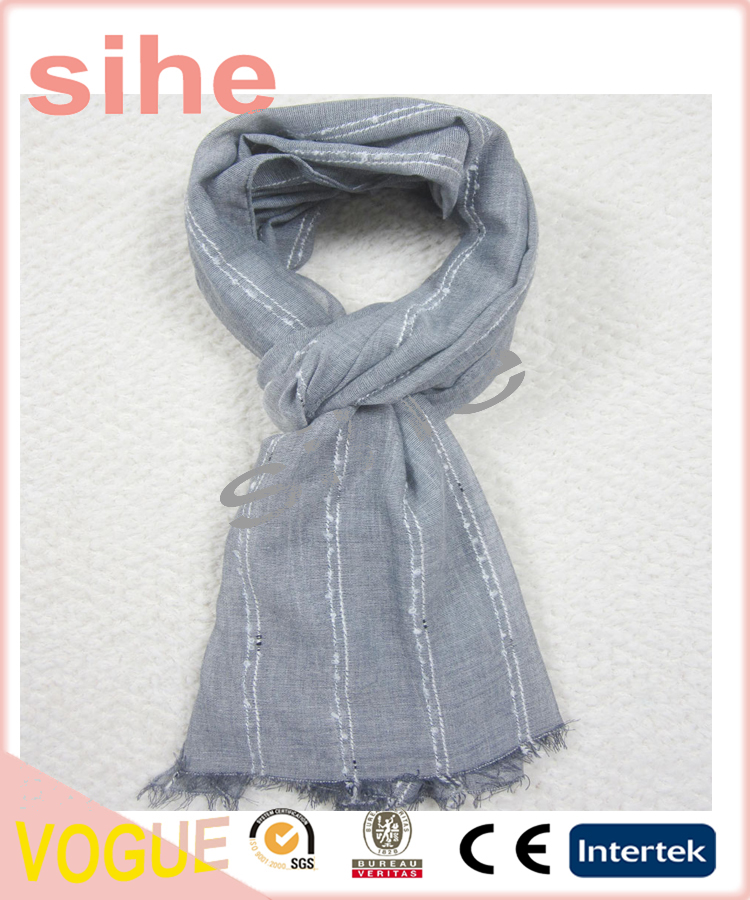 100% polyester woven yarn dye stripe oblong scarf for women fall and winter
