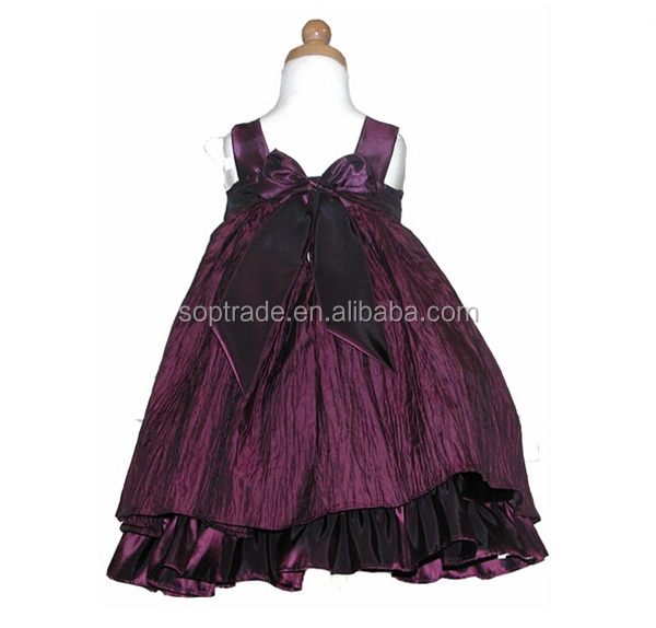 2015 newest hot sale Korea sleeveless purple color A-line long puffy dress for girls