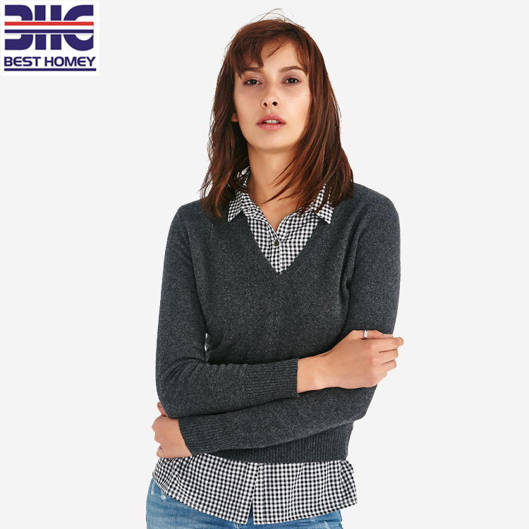 ladies wool cashmere sweater V neck women pullover basic style
