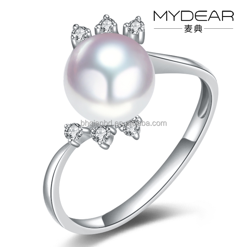 Fashion finger ring/ Japan AKOYA pearl with 18k gold and zircon for women