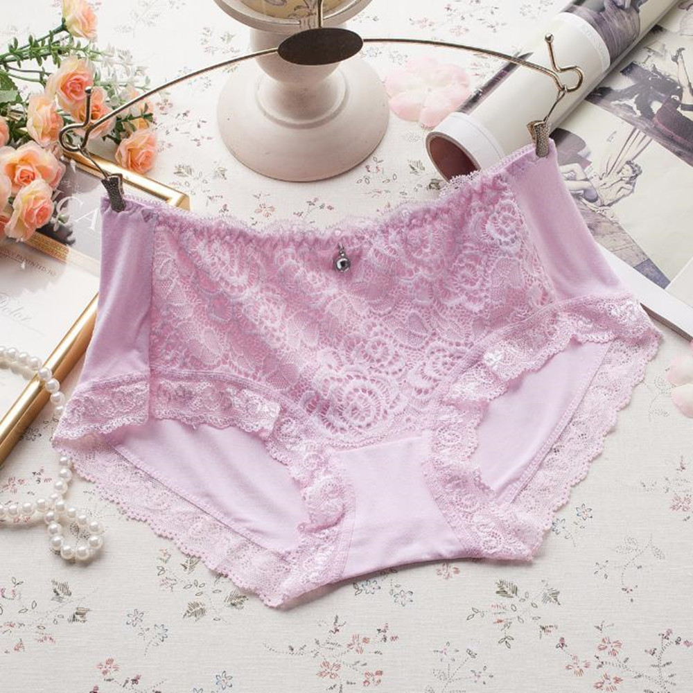Young girl wearing knickers mid-waist lace panty cute underwear