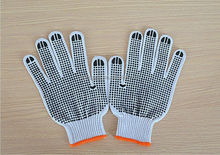black nylon glove with pvc dots