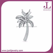 Wholesale Stainless Steel Pendant Czech Stone Palm Tree Pendant