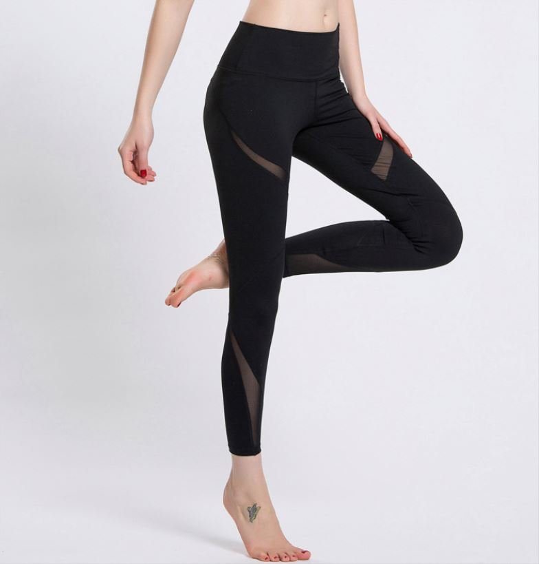 Quick Dry Women Yoga Pants mesh Splice Stripe Waist Elastic Sexy Fitness Sports Leggings