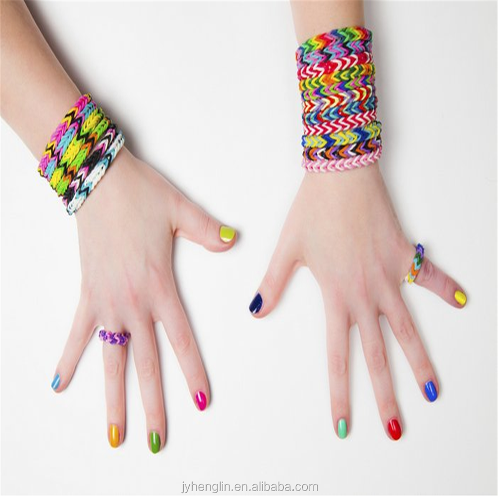 promotional wholesale rainbow color silicone band loom kits/ DIY rainbow rubber band bracelet