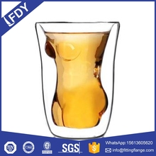 different size double wall glass with inside solid orange colour