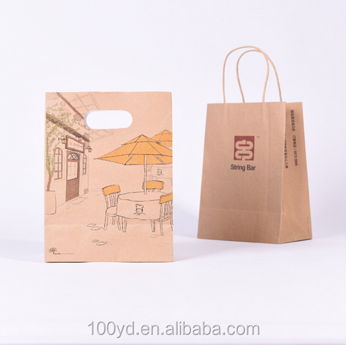 Recycle plastic coated kraft brown grocery paper bag