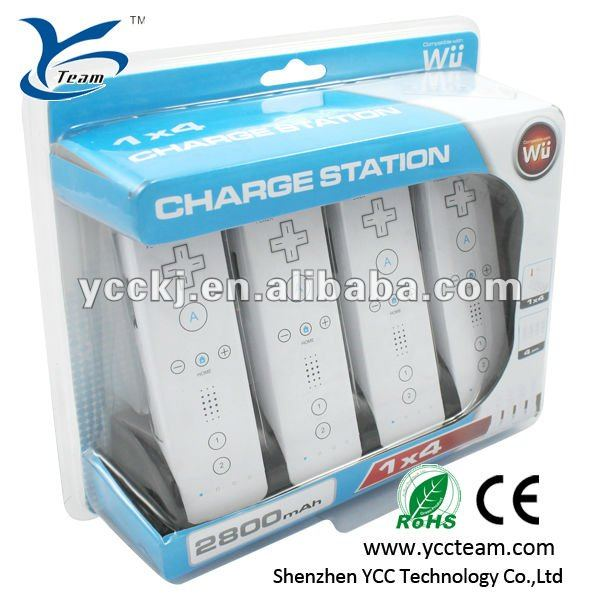 4 in 1 battery charger for wii blue light charge station for wii game accessory