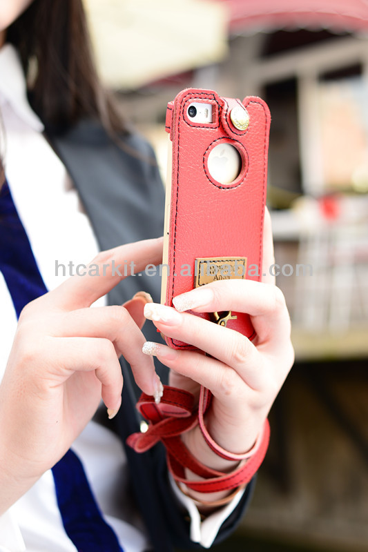 Pure hand-made Showkoo genuine folio cover leather case for iphone 5c 5s 5g