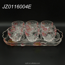 Wholesale chinese style elegant 7pcs crystal glass tea set with lotus flower pattern,beautiful glass tea mug for home&restaurant