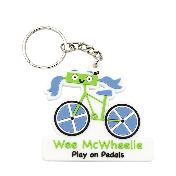Custom shaped blank bike shaped silicone rubber keychain 3d soft pvc custom rubber key chains