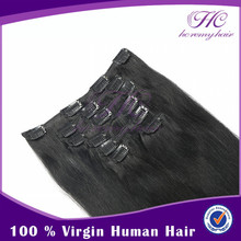 alibaba wholesale factory price best quality 1b color 200 grams clip in hair extensions