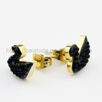 vintage accessories black swan animal gold stud earring elegant lady jewelry sets