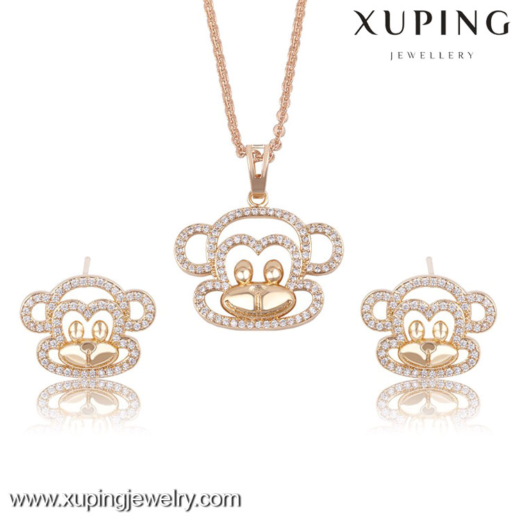 63561- Xuping Chrismas gift copper gold jewelry monkey pendant earring sets