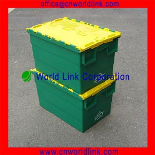 With Matched Cart Attach Lid Moving Plastic Crate For Garment