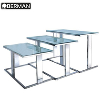 Food service rectangular glass top dining tables , tempered glass top buffet table for restaurant
