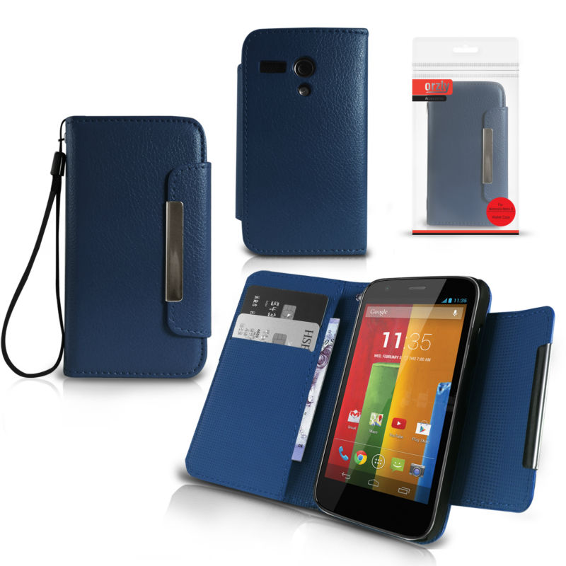 Orzly - Wallet Case for Moto G - Blue