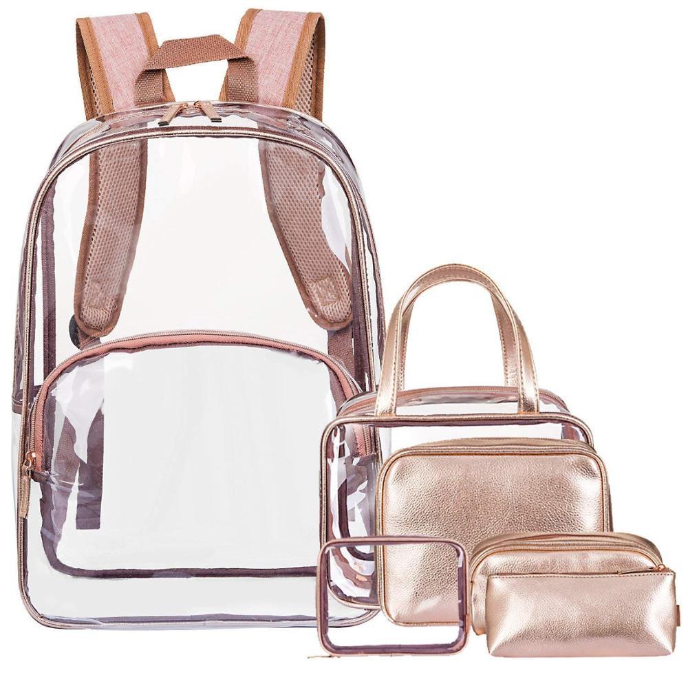 CoolBELL Clear Backpack Transparent Bag Bookbag Stadium Bag Black