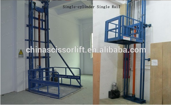 Hydraulic goods guide rail chain lift