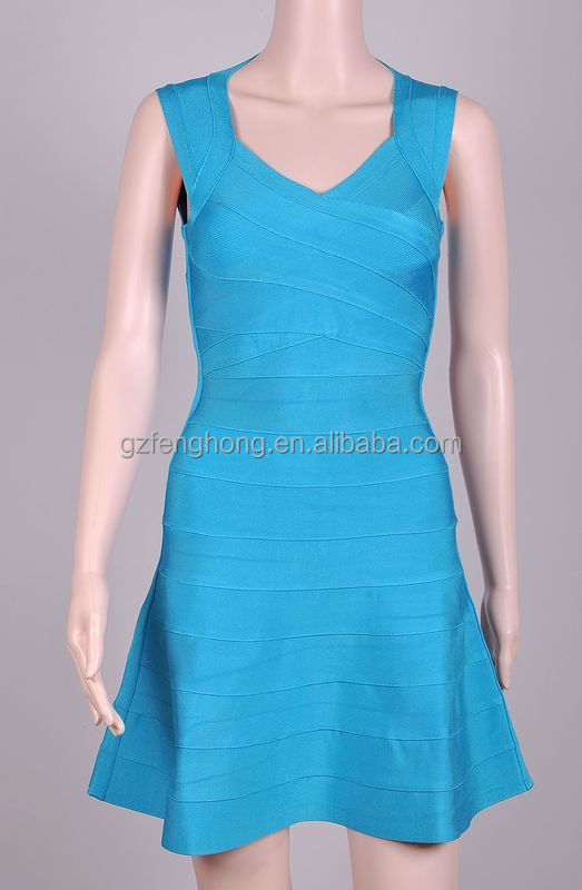 Fashion design women bandage dress blue back open blouses evening dress