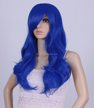 Lolita Blue Mixed Purple Long 75CM Curly Women Cosplay Heat Resistant Wig