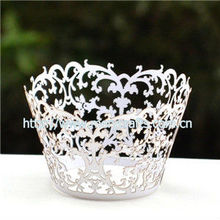 "Personalized wedding cake decorating cake holders laser cut white pearl paper ""vine"" decorative wedding cupcake wrappers"