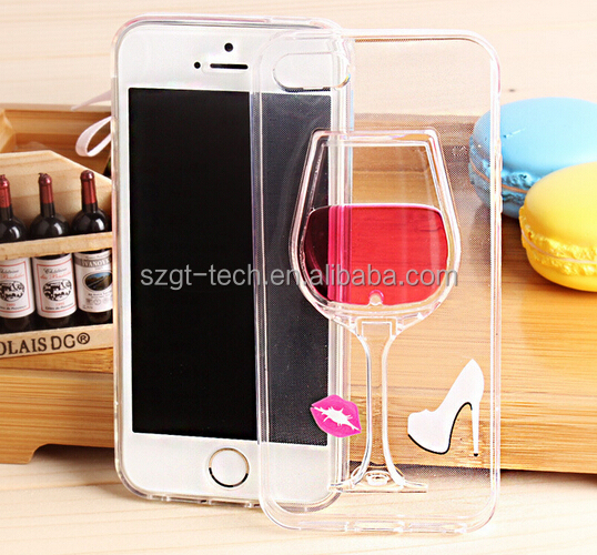 Custom red wine glass case, mobile case phone tpu for iPhone 7 case back cover, ultra thin for iPhone 7 Case TPU PC