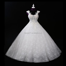 real photo 2017 Beaded sling Empire Lace Princess ball gown wedding dresses BS118