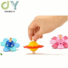 Factory direct wooden colored flower rotating gyro traditional educational toys