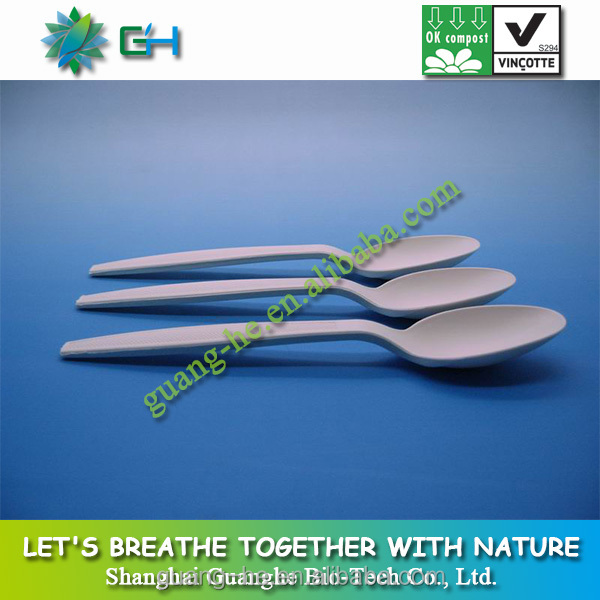 18cm 100% biodegradable food grade safe corn starch utensil plastic spoon
