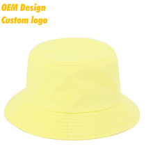 Hot Selling High quality CVC Plastic Closure 2 - side flexfit patch Yellow Hip - Hop Fisherman kids bucket hat