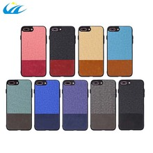 custom design luxury splicing canvas leather phone case shockproof covers for 5.5inch