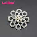 50mm New Fashion Crystal Rhinestones and Pearls Flower Decorative Brooch