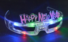 Multicolor happy new year flashing LED eyeglasses, multicolor 6 led lights single color flash glasses