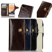 2016 New Design Wax Genuine Leather Flip Case for iPhone 7 with Unique Closure