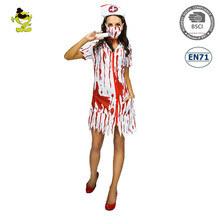 Bloody Zombie Nurse Costumes Halloween Sexy Bloody Doctor Dress Zombie Costume for Woman