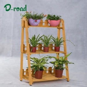 Multi-function outdoor wooden pot stand florist's shop flower display shelf